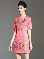Недорогие -Для вечеринок Праздники Шинуазери (китайский стиль) Изысканный А-силуэт Платье Цветочный принт,Воротник-стойка Выше колена Половина рукава