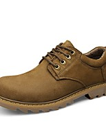 cheap -Men's Shoes Real Leather Cowhide Nappa Leather Spring Fall Comfort Oxfords for Casual Outdoor Khaki Light Brown