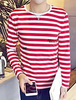 economico -T-shirt Da donna Per uscire Casual Autunno,A strisce Rotonda Cotone Maniche lunghe Opaco