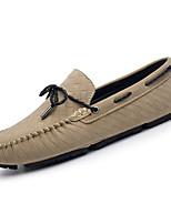 Недорогие -Муж. обувь Свиная кожа Полиуретан Весна Осень Удобная обувь Мокасины Мокасины и Свитер для Повседневные Черный Серый Хаки