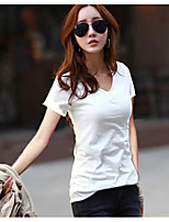 cheap -Women's Daily Casual T-shirt,Solid V Neck Short Sleeve Cotton