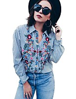 Недорогие -Для женщин Повседневные Осень Рубашка Рубашечный воротник,На каждый день Полоски Длинные рукава,Полиэстер