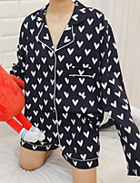 abordables -Costumes Pyjamas Femme Fin Coton Bleu Gris