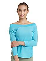 abordables -Mujer Camiseta de running Manga Larga Transpirabilidad Camiseta Sudadera para Jogging Nailon Negro Azul S M L