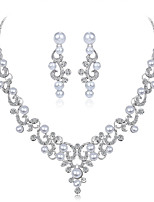 cheap -Women's Bridal Jewelry Sets Imitation Pearl Rhinestone Formal Sweet Fashion Wedding Party Alloy , 1 Necklace Earrings