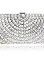 cheap -Women Bags Polyester Evening Bag Crystal Detailing Pearl Detailing for Event/Party All Season Silver Black Gold