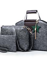 cheap -Women's Bags PU Bag Set 3 Pcs Purse Set Zipper for Shopping Casual All Seasons Black Red Gray Purple Brown
