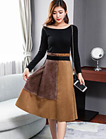 cheap -Women's Casual/Daily Simple Winter Fall Sweater Skirt Suits,Color Block Round Neck Long Sleeve Lace Cotton Micro-elastic