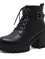 cheap -Women's Shoes PU Spring Fall Combat Boots Boots Chunky Heel Round Toe Booties/Ankle Boots for Outdoor Black