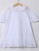 abordables -Robe Fille de Quotidien Couleur Pleine Coton simple Blanc