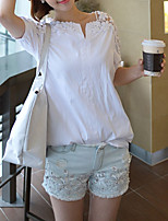 preiswerte -Damen Solide Freizeit Alltag T-shirt,Hemdkragen Winter Herbst Langarm Polyester