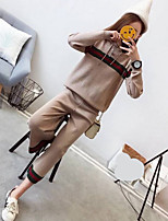 cheap -Women's Daily Vintage Spring Sweater Pant Suits,Striped Hooded Long Sleeve Acrylic Stretchy