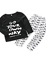 cheap -Baby Kids Daily Print Simple Clothing Set,Cotton Spring Simple Long Sleeve Black