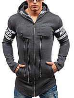 cheap -Men's Casual/Daily Hoodie Solid Letter Hooded Micro-elastic Polyester Long Sleeves Fall