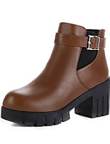 cheap -Women's Shoes Leatherette Spring Fall Comfort Boots Chunky Heel Peep Toe Buckle for Casual Brown Black