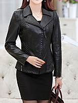cheap -Women's Daily Casual Fall Leather Jacket,Solid V Neck Long Sleeve Regular PU Oversized
