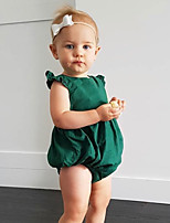 cheap -Baby Girls' Daily Solid One-Pieces, Cotton Linen Bamboo Fiber Acrylic Spring Simple Sleeveless Green