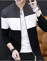 cheap -Men's Casual/Daily Regular Cardigan,Color Block V Neck Long Sleeves Cotton Winter Medium Micro-elastic