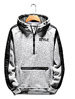 cheap -Men's Daily Going out Casual Street chic Solid Letter Hooded Hoodie Regular,Long Sleeve Winter Summer Polyester Spandex