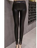 cheap -Women's Modern Style PU Medium Lace Legging,Patchwork Black