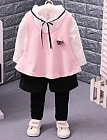 Недорогие -Девочки Набор одежды Повседневные Нейлон Контрастных цветов Весна Лето Длинные рукава На каждый день Красный Розовый