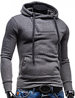 cheap -Men's Daily Simple Solid Hooded Hoodie Regular,Long Sleeve Spring Cotton