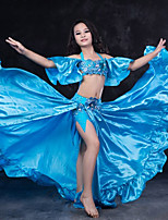 cheap -Belly Dance Outfits Children's Performance Spandex Pleated Short Sleeve Dropped Skirts Tops Hip Scarf Shorts