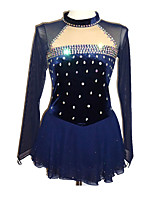 cheap -Figure Skating Dress Women's Girls' Ice Skating Dress Dark Blue Spandex Stretchy Skating Wear Sequin Long Sleeves Ice Skating