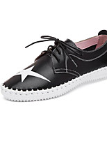 cheap -Women's Shoes Cowhide Spring Fall Comfort Sneakers Flat Heel for Casual Black White