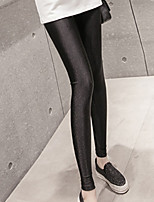 cheap -Women's Sequins Cotton Thin Solid Color Legging,Solid Black