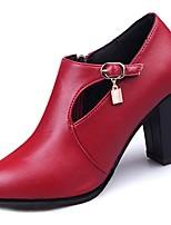 economico -Da donna Scarpe PU (Poliuretano) Inverno Comoda Anfibi Stivaletti Heel di blocco Appuntite Stivali metà polpaccio per Casual Nero Borgogna