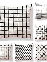 cheap -6 pcs Textile Cotton/Linen Pillow Cover, Striped Geometric Color Block