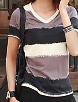 abordables -Tee-shirt Femme,Couleur Pleine Quotidien Décontracté Eté Manches courtes Col en V Coton