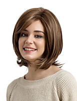 cheap -Synthetic Hair Wigs Natural Wave Side Part With Bangs Capless Natural Wigs Medium Brown