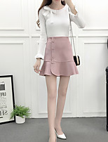 cheap -Women's Going out Simple Winter Set Skirt Suits,Solid Round Neck Long Sleeves Polyester
