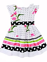 cheap -Girl's Daily Going out Polka Dot Floral Dress,Cotton Summer Short Sleeves Cute Active White