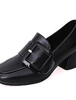 Недорогие -Для женщин Обувь Полиуретан Весна Осень Удобная обувь Обувь на каблуках На толстом каблуке для Повседневные Черный Военно-зеленный