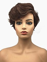 cheap -Women Synthetic Wig Brown Pixie Cut Hair Asymmetrical Side Bang Short Curly Capless Wigs