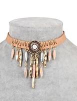 cheap -Women's Irregular Classic Fashion Choker Necklace Cubic Zirconia Zircon Leather Alloy Choker Necklace , Daily