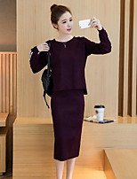 cheap -Women's Daily Going out Casual Fall Sweater Skirt Suits,Striped Round Neck Long Sleeve Pure Color Cotton Micro-elastic