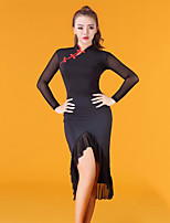 abordables -Danse latine Robes Femme Utilisation Tulle Soie Glacée Volants Manches Longues Taille moyenne Robe