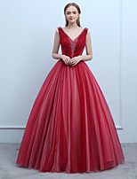 cheap -Ball Gown V-neck Floor Length Tulle Prom Formal Evening Dress with Beading Lace by SG