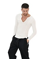 abordables -Baile Latino Tops Hombre Actuación Licra Plisados Mangas largas Cintura Media Tops