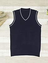 cheap -Men's Daily Wear Solid V Neck Pullover, Sleeveless Winter Fall Polyester