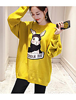 cheap -Women's Sports To-Go Vintage Cute T-shirt,Animal Print Round Neck Long Sleeves Cotton Cotton/nylon with a hint of stretch
