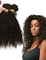 Недорогие -Бразильские волосы Кудрявый вьющиеся Ткет человеческих волос 3шт 3 предмета 0.3
