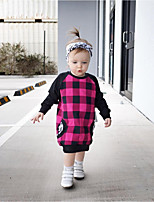 cheap -Girl's Daily Going out Print Color Block Plaid Dress, Cotton Spring Summer Long Sleeves Casual Street chic Fuchsia