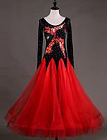 abordables -Danse de Salon Robes Femme Utilisation Chinlon Organza Appliques Cristaux/Stras Manches Longues Taille haute Robe