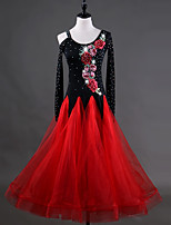 cheap -Ballroom Dance Dresses Women's Training Chinlon Organza Appliques Crystals/Rhinestones Long Sleeves High Dress