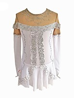 cheap -Figure Skating Dress Women's Ice Skating Dress White Spandex Stretchy Beginner Professional Skating Wear Angel Stitching Lace Rhinestone